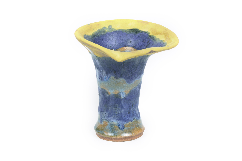 purple yellow flower vase